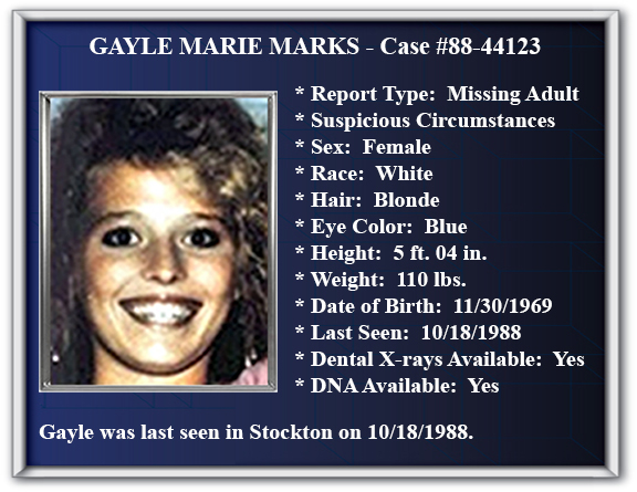 Missing Person Flyer of Gayle Marie Marks