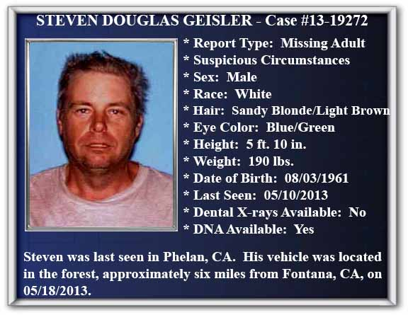 Missing Person Flyer of Steven Douglas Geisler