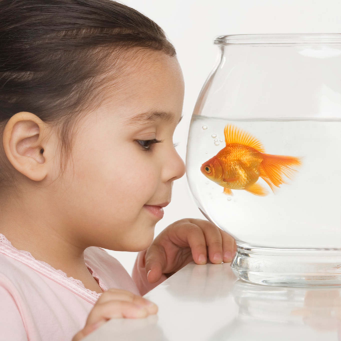 Little Girl and Fish Bowl