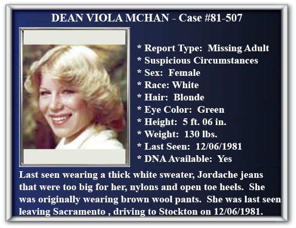 Missing Person Flyer of Dean Viola McHan