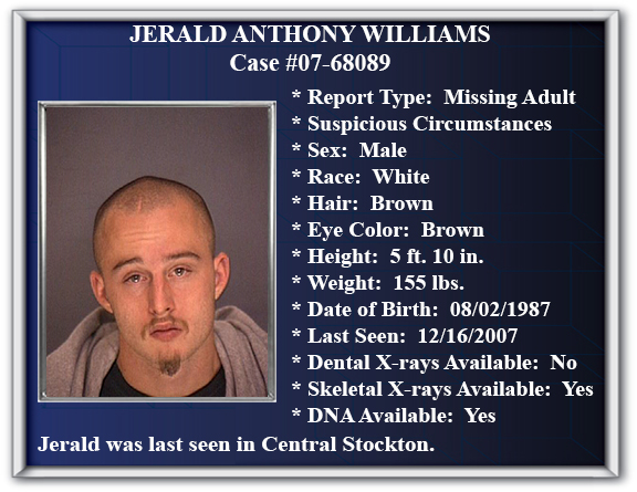 Missing Persons Flyer of Jerald Anthony Williams