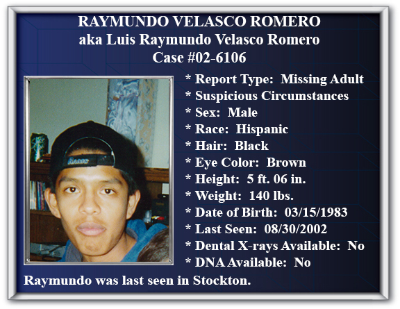 Missing Persons Flyer of Raymundo Velasco Romero